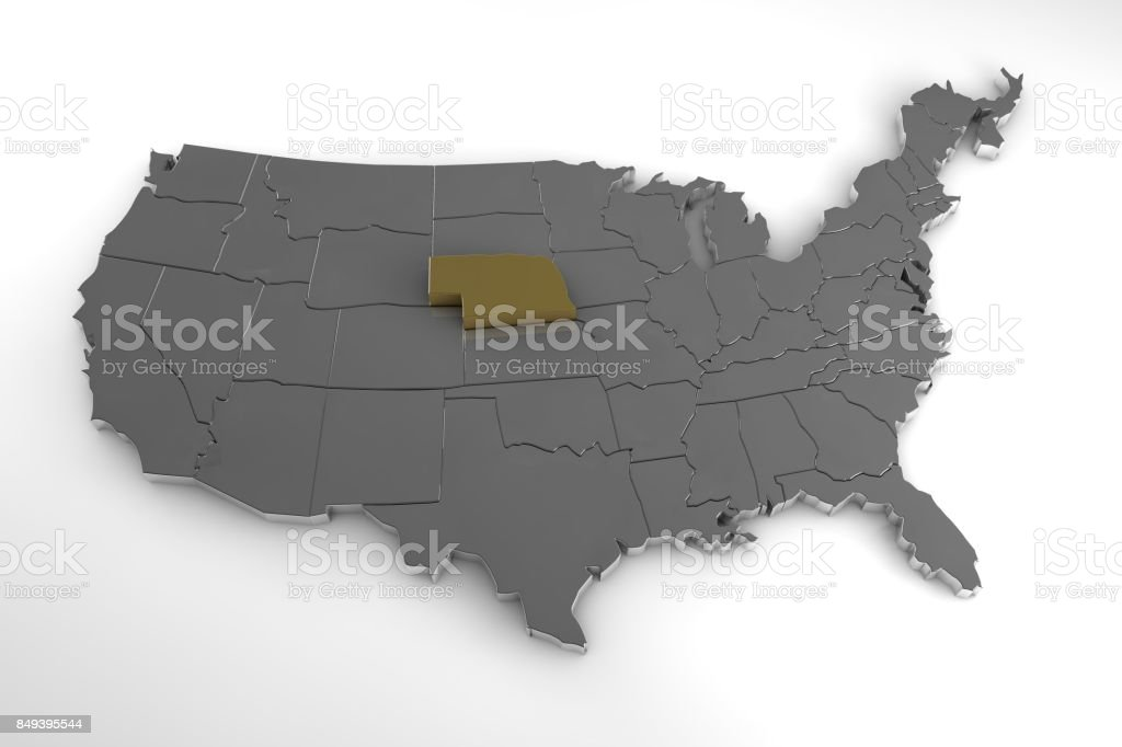 United States of America, 3d metallic map, whith Nebraska state highlighted. 3d render stock photo