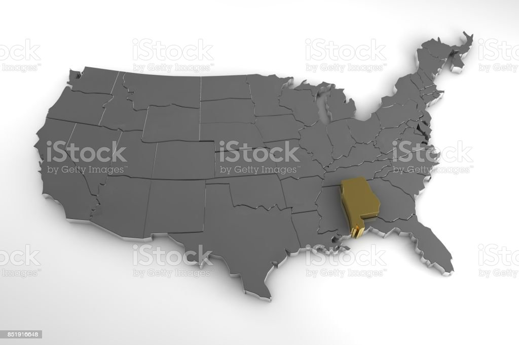 United States of America, 3d metallic map, with Alabama state highlighted. 3d render stock photo