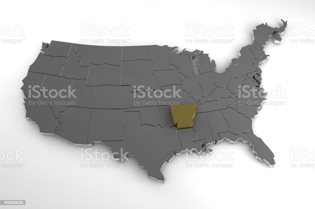 United States of America, 3d metallic map, with Arkansas state highlighted. 3d render stock photo