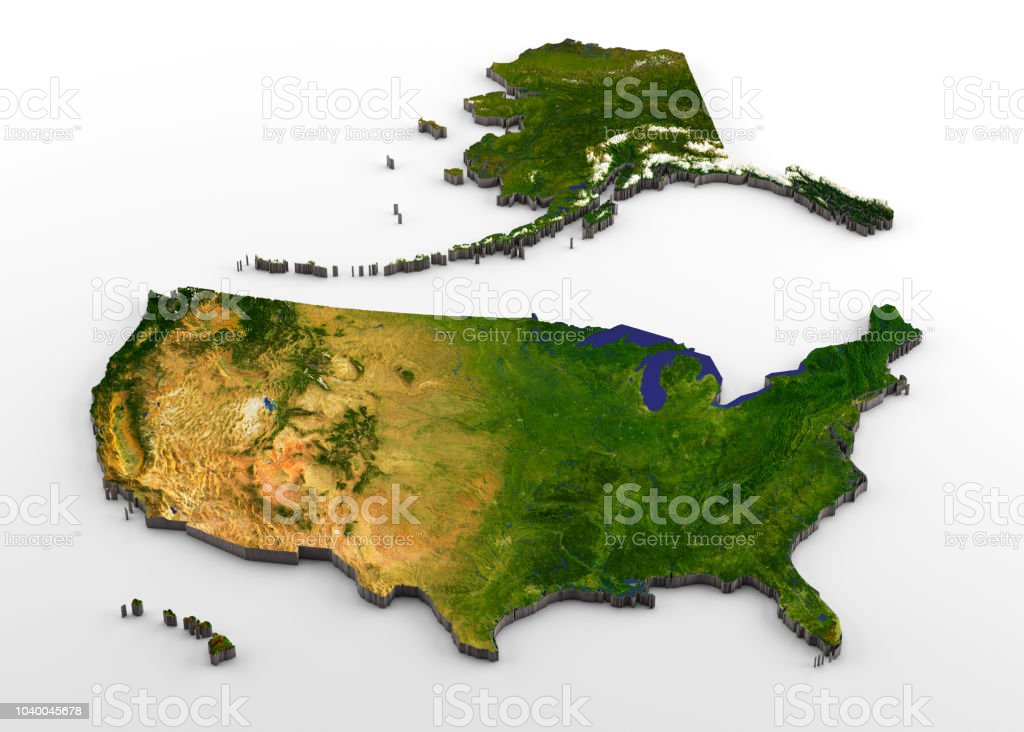 United States Of America 3d Physical Map With Relief Stock ...