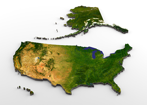 istock United States of America 3D Physical Map with Relief 1040045678