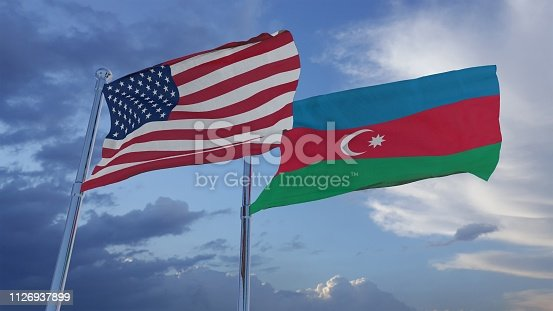 istock United States of America and Azerbaijan National Flags - 3D Illustration Stock Footage 1126937899