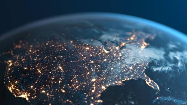 estados unidos de américa por la noche - planeta tierra visto desde el espacio - us map fotografías e imágenes de stock