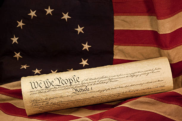 United States of America Constitution on Betsy Ross Flag stock photo