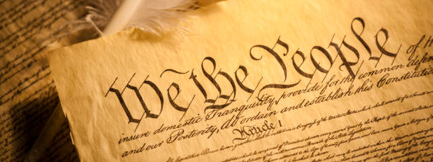 United States of America Constitution parchment panoramic stock photo