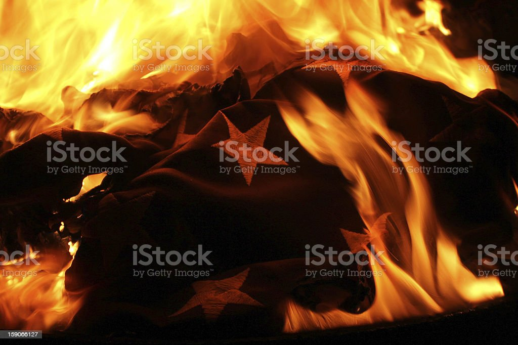United States of America Flag burning in retirement ceremony stock photo