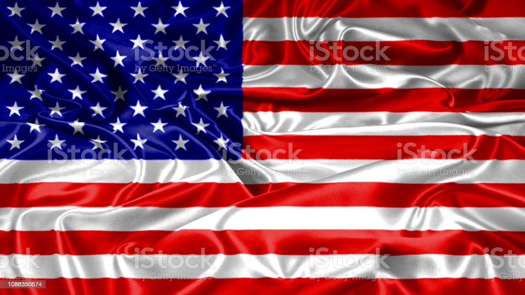 USA United states of America flag emblem seal on silk and satin texture stock photo