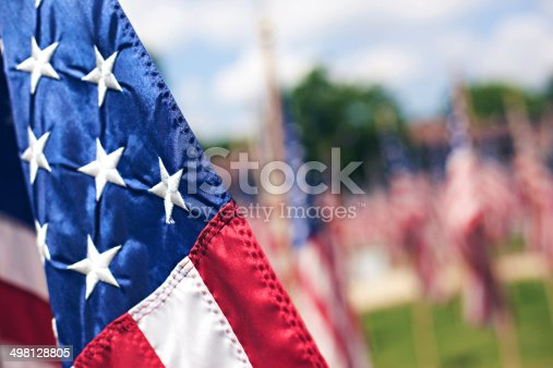 United States of America flag poles during holiday memorial celebration