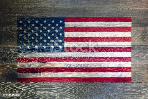 518726782 istock photo United states of America flag on rustic old wood surface background stars and stripes old glory 1220549037