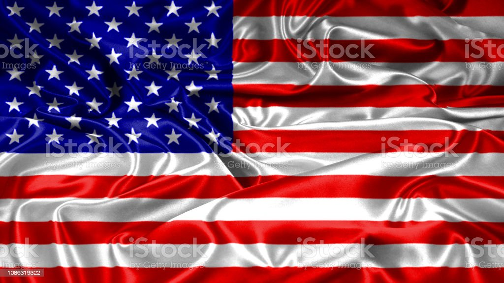 USA United states of America flag on silk and satin texture with mask stock photo