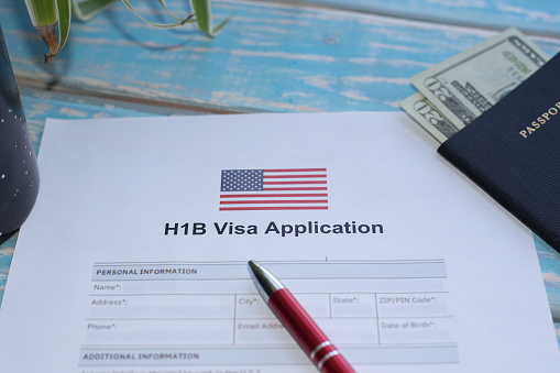 Illustrative picture showing application for USA H1B visa