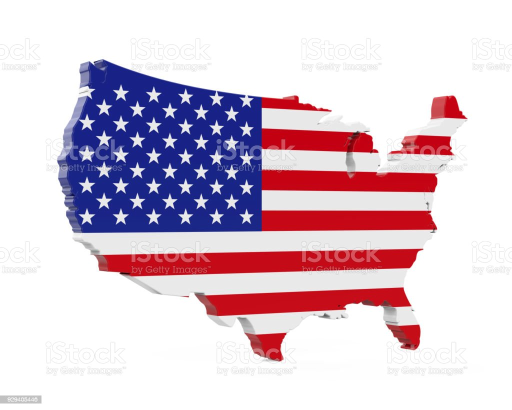 United States Of America Map Flag Stock Photo & More Pictures of ...