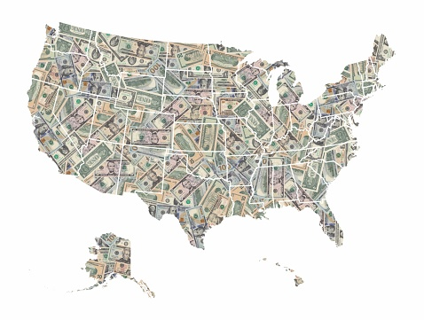 United States of America map formed with american dollars bills isolated on white background