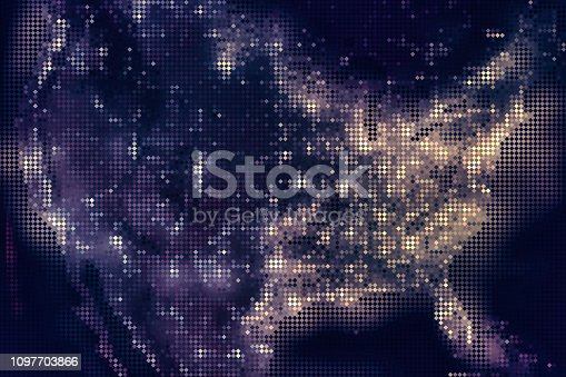 1056103150istockphoto United States of America map from mosaic rhombus tiles, night dark with city lights. 1097703866