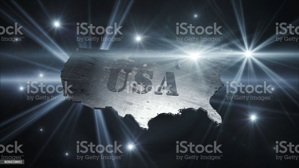 United States Of America Map in Space With Flares and Stars 3D Rendering stock photo