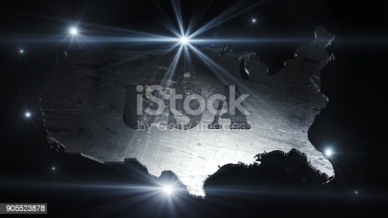 istock United States Of America Map in Space With Flares and Stars 3D Rendering 905523878