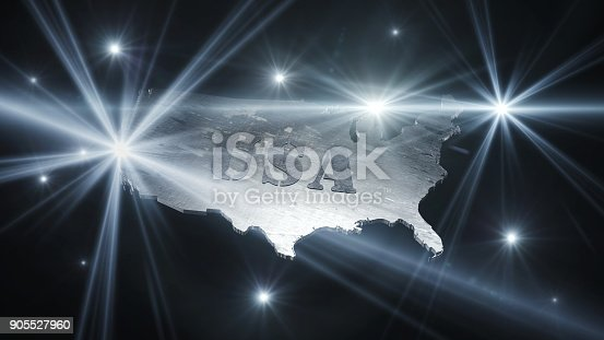 istock United States Of America Map in Space With Flares and Stars 3D Rendering 905527960