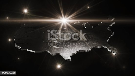 istock United States Of America Map in Space With Flares and Stars 3D Rendering 905530298
