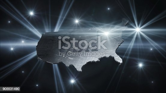 istock United States Of America Map in Space With Flares and Stars 3D Rendering 905531490