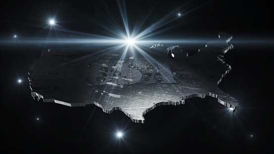 istock United States Of America Map in Space With Flares and Stars 3D Rendering 905531572