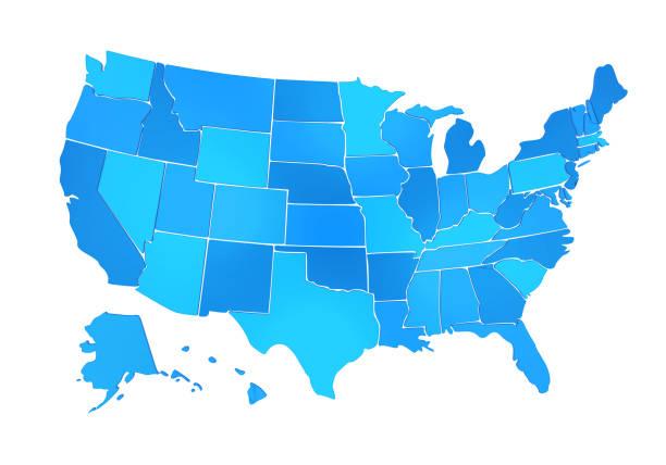 mapa de estados unidos aislado - us map fotografías e imágenes de stock