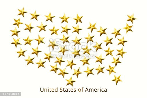520945644 istock photo United States of America map of fifty gold stars isolated on white background. 3D illustration. 1173610392