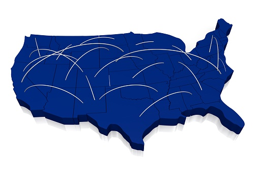 istock 3D United States of America (USA) map 520945558