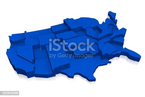 istock 3D United States of America (USA) map 520945596