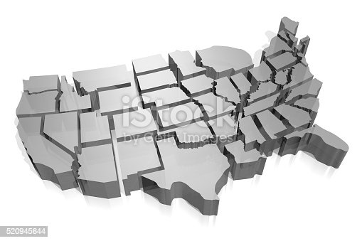 istock 3D United States of America (USA) map 520945644