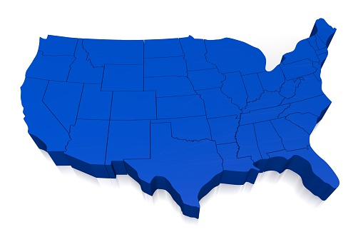 istock 3D United States of America (USA) map 520945716