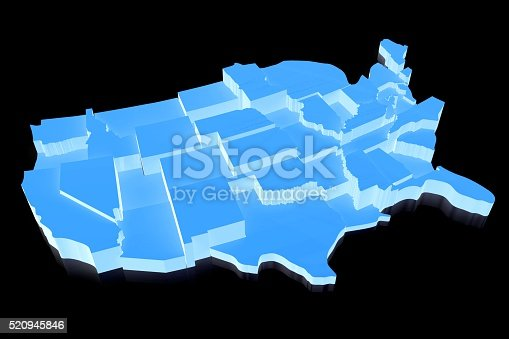 520945644 istock photo 3D United States of America (USA) map 520945846