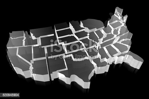 520945644 istock photo 3D United States of America (USA) map 520945904