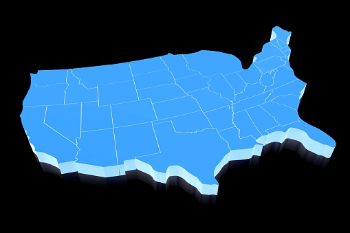 istock 3D United States of America (USA) map 520945996