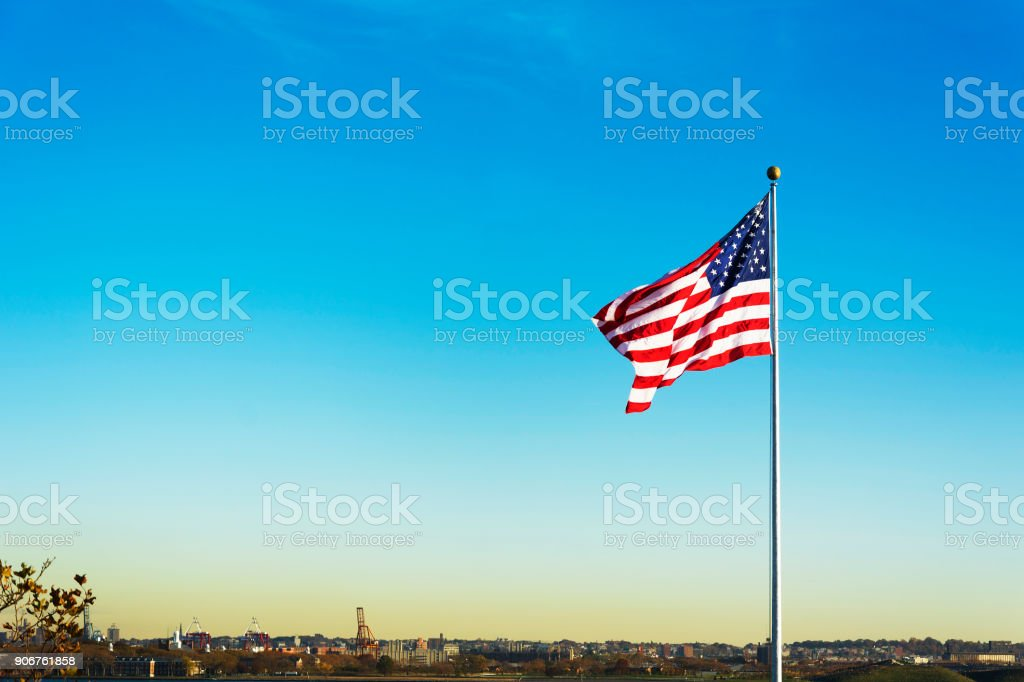 United States of America national Flag waving stock photo