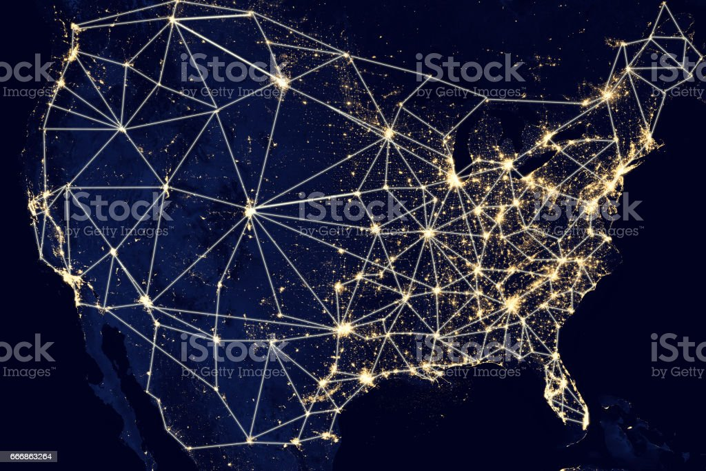 USA United States of America network stock photo