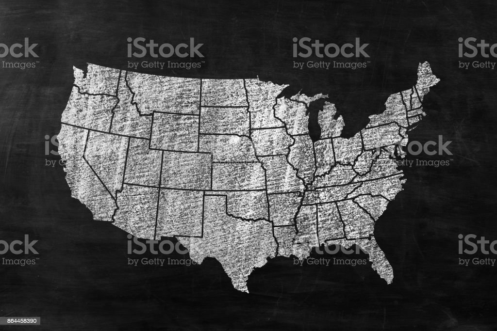 United States of America on Blackboard stock photo