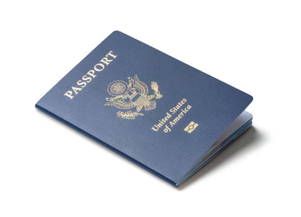 united states of america passport isolated on white background - passport stock photos and pictures