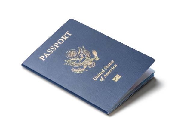 United States of America passport isolated on white background stock photo