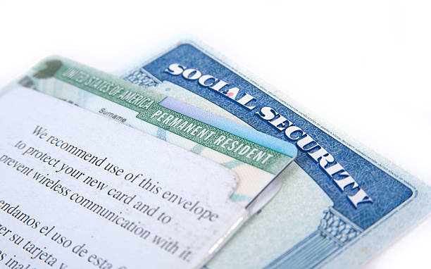 United States of America social security and green card United States of America social security and green card on white background green card stock pictures, royalty-free photos & images