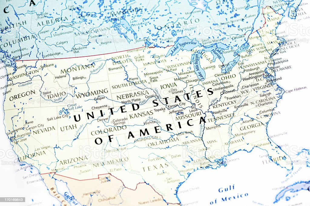 United States Of America Usa Map Stock Photo IStock - Usa map indiana