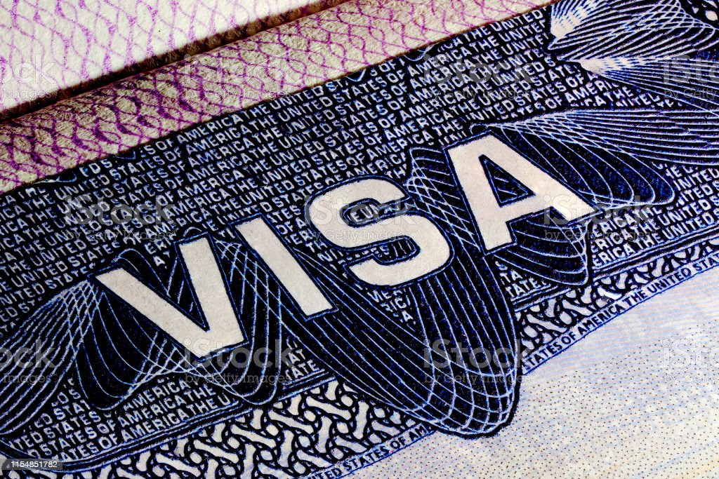 United States of America Visa Page, Close up of a text Visa, Visa Stamp. - Royalty-free American Flag Stock Photo