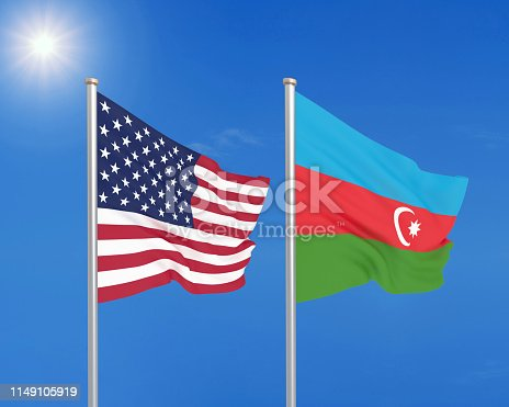 istock United States of America vs Azerbaijan. Thick colored silky flags of America and Azerbaijan. 3D illustration on sky background. - Illustration 1149105919