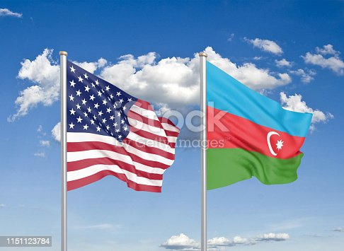 istock United States of America vs Azerbaijan. Thick colored silky flags of America and Azerbaijan. 3D illustration on sky background. - Illustration 1151123784