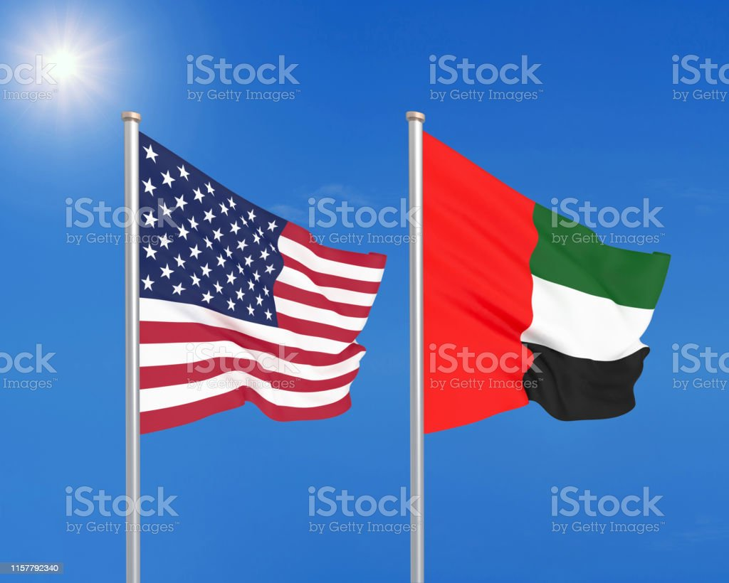 United States of America vs United Arab Emirates. Thick colored silky...