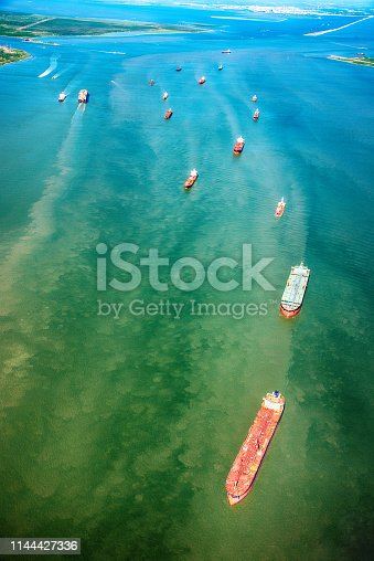 Oil Tankers within Galveston Bay approaching the refinery in Texas City, Texas located south of Houston near the city of Galveston, Texas.