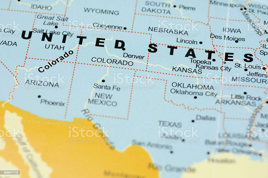 United States on map royalty-free stock photo