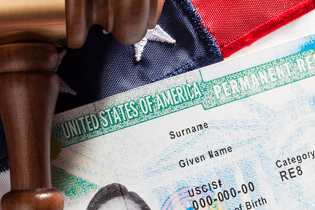 United States Permanent Resident Immigration concept. United States Permanent Resident  with gavel and identification card green card stock pictures, royalty-free photos & images