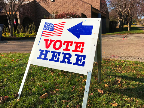 United States Polling And Voting Location Sign Stock Photo - Download Image Now