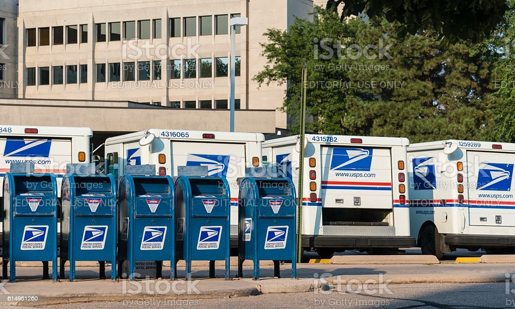 United States Post Office and Mail Trucks stock photo