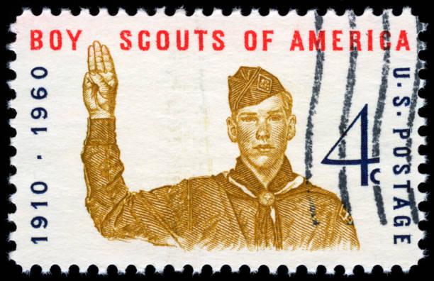 estados unidos sello postal - boy scout fotografías e imágenes de stock